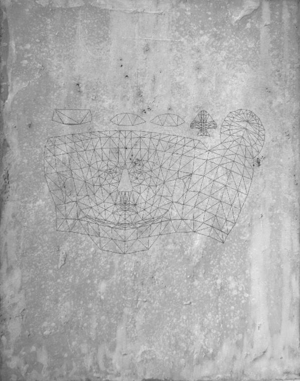 © Marco Mendeni, Digital Petroglyphs Human 95x65cm, digtal processing on concrete, 2014